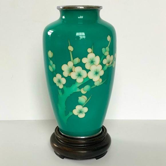 Japanese Cloisonné Cherry Blossom Vase